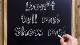 Don't tell me! Show me! - New chalkboard with outlined text - on wood